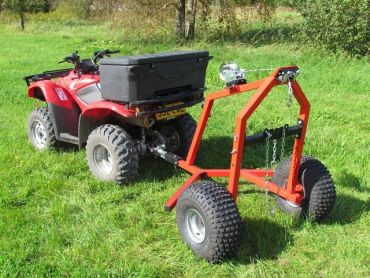 Remorque de débardage avec treuil manuel pour ATV
