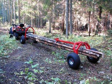 Remorque de débardage pour ATV avec support arrière et treuil électrique