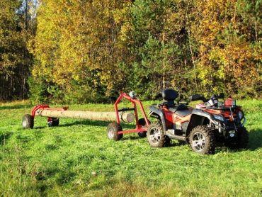 Remorque de débardage pour ATV avec support arrière et treuil manuel