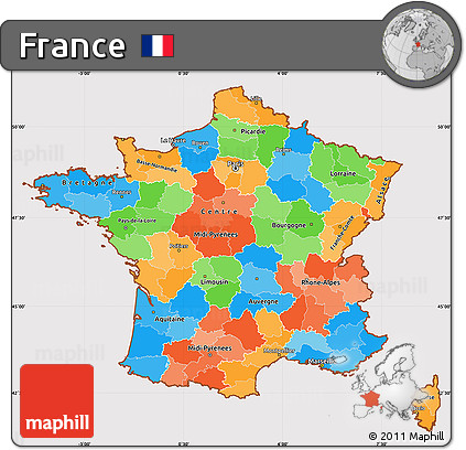 Political Simple Map of France, cropped outside